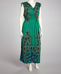 Take a look at this Green Peacock Surplice Maxi Dress - Plus by jon & anna on #zulily today!