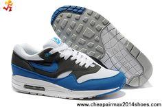 big sale b0d1e 3b47c Buy Cheap White Signal Blue Anthracite 308866-109 Nike Air Max 1 Mens  Sports Shoes