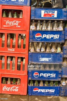 Stock Photo : Empty cold drinks bottles at Asansol, West Bengal, India