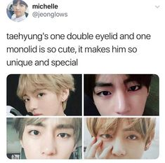My sister has the same thing -- she used to be pretty embarrassed about it. After I showed her BTS and she fell to their witchcraft, she came to me so excited about Tae's eyelids.