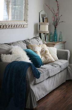 Velvet Slipcover on IKEA Ektorp Sofa