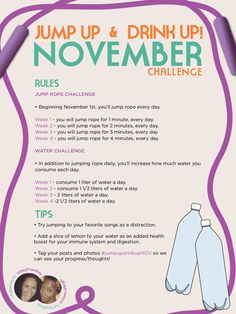 Jump up & Drink up November Challenge- I think I'll do this for May. Fitness Diet, Fitness Motivation, Health Fitness, Fitness Blogs, Fitness Quotes, Train Hard, Boot Camp, Zumba, November Challenge