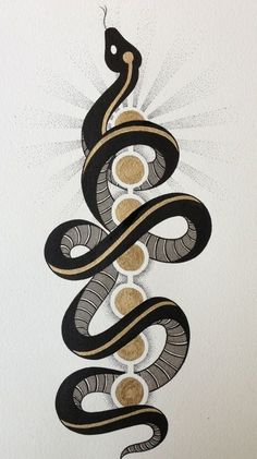 Kundalini ascending through the chakras. Kundalini ascending through the chakras. Art And Illustration, Creative Illustration, Snake Art, Snake Outline, The Snake, Bild Tattoos, Yoga Tattoos, Tatoo Art, Diy Tattoo