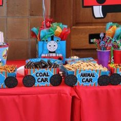 Thomas the Train Birthday Party Ideas Unique 17 Best Images About Thomas the Train theme Birthday Party Thomas Birthday Parties, Thomas The Train Birthday Party, Trains Birthday Party, Train Party, Birthday Fun, Birthday Party Themes, Birthday Ideas, Third Birthday, Birthday Recipes