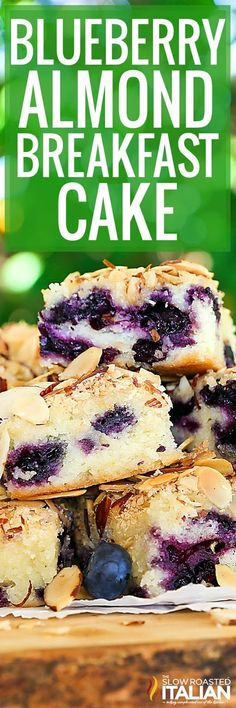 Blueberry Almond Breakfast Cake is the perfect combination of blueberry and almond in a tender butter cake. This recipe comes together so easily with just a handful of ingredients you will find yourself whipping it up all year long. Perfect for making any time of year with fresh or frozen fruit. #theslowroasteditalian #tsri #breakfast #blueberries #cake #dessert #fruit #recipe