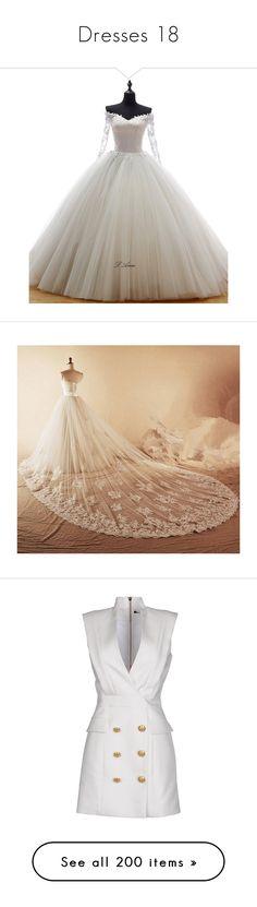 """""""Dresses 18"""" by o-hugsandkisses-x ❤ liked on Polyvore featuring dresses, wedding dresses, wedding, vestidos, short dresses, balmain, white, white dress, tube dress and v neck dress"""