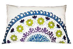 Suzani Lumbar 14x20 Pillow, Blue/Multi by Divine Designs