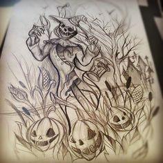 scarecrow and pumpkin tattoo Halloween Tattoo, Scarecrow Tattoo, Scarecrow Drawing, Scary Scarecrow, Halloween Artwork, Sketch Tattoo Design, Tattoo Sketches, Tattoo Drawings, Drawing Sketches