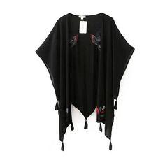 Harajuku Embroidery Bird Tassel Kimono Cardigan Blusa Feminina New Woman Irregular Fringed Kimono Shirts Jackets Sunscreen