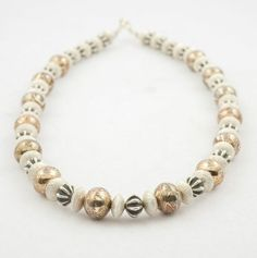 Al Joe. Necklace with handmade silver and Mokume beads. Native American artist. #nativeamerican #nativeamericanart