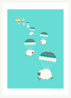 Sheep with parachutes :)