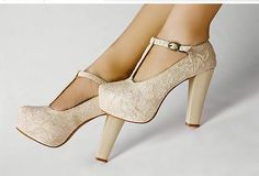 classy lace and a neutral nude color...a perfect shoe!