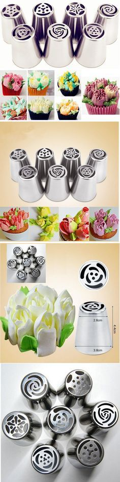 US$5.99  7Pcs DIY Flower Pastry Cake Icing Piping Nozzles Decorating Tips Baking Tools