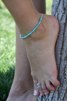 Genuine Turquoise and Sterling Silver Wire Wrapped Anklet - Anklet - Ideas of Anklet - Foot Pics, Foot Pictures, Rain Pictures, Cute Toes, Pretty Toes, Tattoo Wallpaper, Anklet Tattoos, Beautiful Toes, Silver Anklets