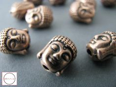 5x++BUDDHA+Perlen+10mm+Kupfer+3D+massiv+Buddhakopf+von+Pick*n*Mix+auf+DaWanda.com