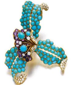 Amethyst, Turquoise and diamond brooch, Cartier 1940's