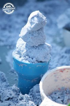 "blue cloud dough ice cream cone - made from toddler-safe cloud dough!  Fun play dough type of ""play"""
