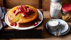 Yoghurt cake with strawberries   Easy cake   SBS Food