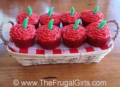 Red Velvet Apple Cupcakes! via TheFrugalGirls.com #apple #cupcakes #recipe