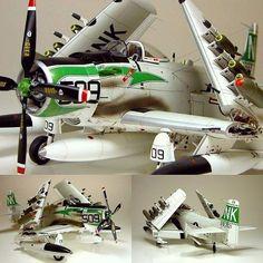 Beautiful!!! Douglas AD-6 Skyraider 1/48 Tamiya. Modeler Hubert Ortinger #scalemodel #plastimodelismo #plasticmodel #plastimodelo #scalemodelkit #plastickits #usinadoskits #udk #hobby #skyraider #avião #plane