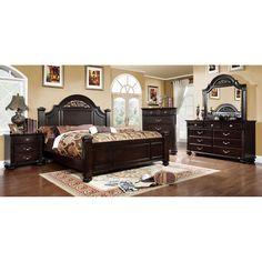 Furniture of America Grande 4-Piece Dark Walnut Bedroom Set (Queen), Brown