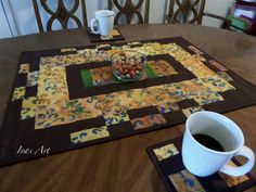 Handmade Quilted Table Topper Plus Two Coasters in the Set , Autumn Colors