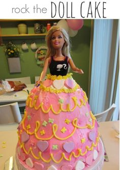 Planning a party for a sweet birthday girl? This doll cake is super easy to make. You don't have to be a professional to make this lovely doll cake for your daughter's birthday party! It was so much fun to make! Party Treats, Party Cakes, Daughter Birthday, Girl Birthday, Birthday Wishes, Birthday Parties, Birthday Ideas, Doll Birthday Cake, Barbie Birthday