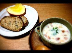 蜜たっぷりりんご。ミルクスープ。雑穀パン✨ りんご美味しい✨✨✨ - 86件のもぐもぐ - 蜜たっぷりりんごの朝ごパン。 by mayumi213