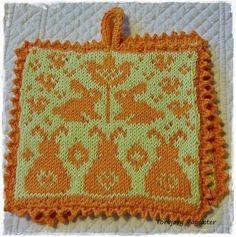 Ravelry: Påskegryteklut pattern by Jorunn Jakobsen Pedersen Crochet Potholder Patterns, Knitting Projects, Knitting Ideas, Double Knitting, Pot Holders, Ravelry, Charts, Free Pattern, Knit Crochet