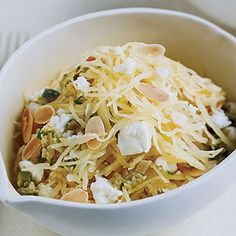 Mild spaghetti squash is delicious with potent ingredients like the olives and feta in this lemony salad, which makes a wonderful starter or side dish.