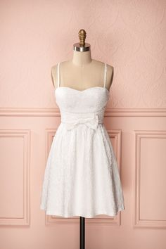 Gweneira - Textured white A-line bustier dress with bow
