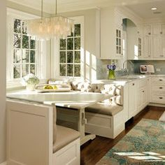 Always loved banquet seating in a kitchen - it just looks so inviting.