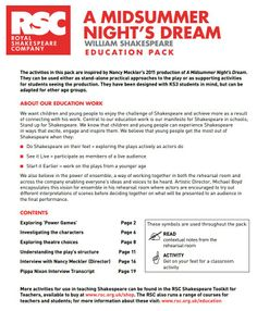 RSC: A Midsummer Night's Dream - Printable classroom activities inspired by the rehearsal room process of the RSC