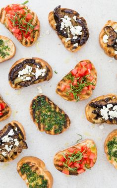 Bruschetta with Grilled Eggplant, Rosemary, and Feta. We perfected the grilled bread + toppings combination by creating a slew of toppings to impress your guests with. Grilling the eggplant can be done ahead of time for an easy prep.