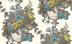 Floribunda (W0041/01) - Clarke & Clarke Wallpapers - A classical design of a large multi flowered bouquet in an urn, shown here with a hand sketched effect in black on white with Aqua and green colour detail. Please request sample for true colour match. Paste the wall.