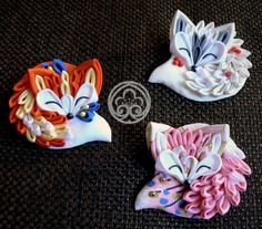 Tsumami zaiku brooch. Cute sleeping fabric fox.