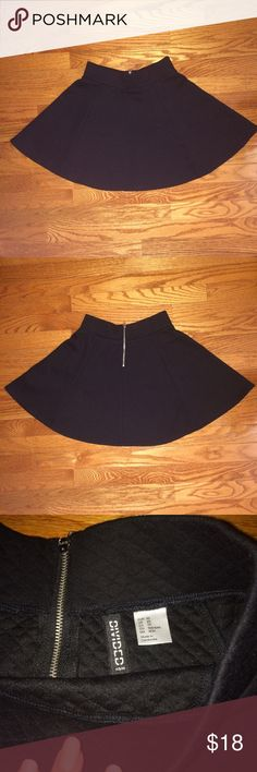 Black Skater Skirt Soft little zip up black xs skater skirt from H&M with a square knit pattern. Worn once, perfect condition, no tag. H&M Skirts Circle & Skater