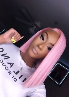 natural ash blonde Product Name: Lace Frontal Wigs Pink Hair Hair Color: Pink Hair Texture: Silky Hair Weight: (depends on the length of the hair) Items / Package: a closu Goddess Hairstyles, Baddie Hairstyles, Curly Hair Styles, Natural Hair Styles, Blonde With Pink, Ash Blonde, Pelo Natural, Hair Laid, Pink Hair