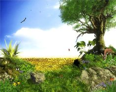 Wallpaper name: Wallpaper Desktop 3d Animation. Description: It is a bright summer day and a bird an butterflies are flying across the sky. It is a very green and beautiful landscape.