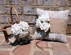 SET OF Ring Bearer Pillow & Flower Girl Basket   by SettingUpHouse, $57.00