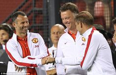 So far so good: Louis van Gaal was in high spirits along with his assistants