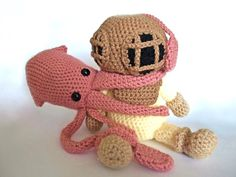 Deep Sea Diver AND Squid  Crochet Patterns