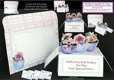 Birthday Cupcakes   Pop up Box Card Kit   Matching Envelope on Craftsuprint - View Now!
