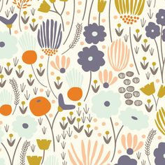 """Rich Meadow in Ivory"" by Elizabeth Olwen from the collection ""Morning Song"". Available at www.pinkcastlefabrics.com."
