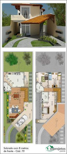 House project with 8 meters in front - Code 79 Dream House Plans, Small House Plans, House Floor Plans, My Dream Home, Layouts Casa, House Layouts, Future House, House Blueprints, Sims House