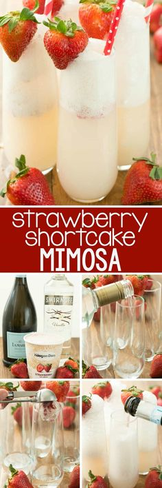 Strawberry Shortcake Mimosa - just three ingredients to the prettiest mimosa rec. Strawberry Shortcake Mimosa - just three ingredients to the prettiest mimosa recipe ever! This champagne cocktail is perfect for brunch and can be mad. Holiday Drinks, Party Drinks, Cocktail Drinks, Cocktail Recipes, Brunch Drinks, Brunch Punch, Bourbon Drinks, Breakfast Alcoholic Drinks, Christmas Mocktails