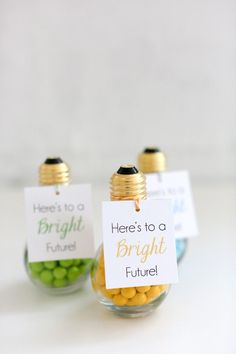 "DIY Graduation Party Favors: Thank your guests for attending the party with a cute, creative party favor. Say cheers to a bright future with colored chocolate candies packaged in a faux light bulb (available at party stores or online) and attaching our free ""Here's to a Bright Future!"" printable favor tag."