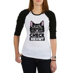 women's check meowt funny Jr. Raglan Check Meowt Gray Cat with glasses - Funny Women's shirt kitty cat funny humor college new trend quote catlady hers sister mom auntie friend day gift geek nerd