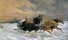 """Constantin Stoiloff. ( 1850- 1924) artist bulgar.  Potrivit unor surse rusești, a studiat la Academia de Arte din St. Petersburg.   """" Cursa"""""""