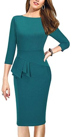 Sunblume Womens Scoop Neck Elegant Vintage Cocktail Wedding Sleeve Bodycon Dress (Medium, Green) * You can find out more details at the link of the image. Party Dresses With Sleeves, Bodycon Dress With Sleeves, Dresses For Work, Elegant Dresses, Vintage Dresses, Casual Dresses, Short Dresses, Bodycon Cocktail Dress, Dress Outfits